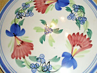 """Vintage China Cake Plate 12"""" Round Hand Painted Japan Flowers"""