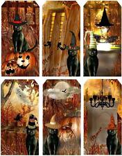 Halloween Black Cat Tag Shape Card Making Toppers ~ Scrapbooking / Crafting