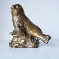 Vintage Brass Seal Sea Lion Figurine Figure Statue Nautical Beach House Decor