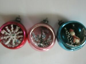 3 VTG MERCURY GLASS 3D DIORAMA INDENT CHRISTMAS ORNAMENTS SNOWMAN SNOWFLAKE