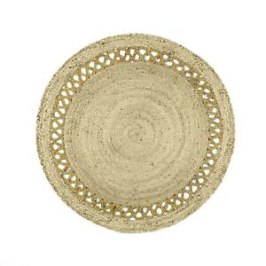 Indian Traditional Jute Area Rug Round Reversible Throw Rugs for Bedroom Carpet