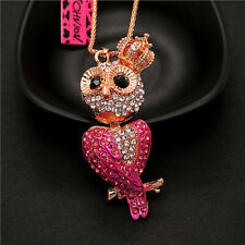 Betsey Johnson Popular Rose Crystal Crown Big Eyes Owl Pendant Chain Necklace