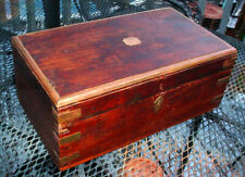 Antique 19thC Sea Captians Document Liftop Chest Brass Bound Dovetailed Box N/R