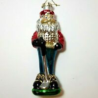 "Vintage 7 1/2"" Large Blown Glass Santa Golfer Glittered Christmas Ornament Golf"