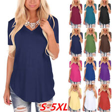 Summer Women Casual V Neck T Shirt Short Sleeve Solid Top Size Plus Blouse Tunic