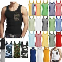 MENS MUSCLE VEST TOPS CAMOUFLAGE JUNGLE SLEEVELESS TRIM FITNESS GYM SHIRT SPORTS