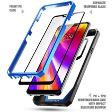 For LG G7 ThinQ Rugged Bumper Case Poetic Guardian [With Tempered Glass] Blue