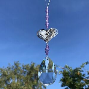 New Hanging 3D Love Heart Sun Catcher Mobile ~ Purple Glass Beads Clear Teardrop
