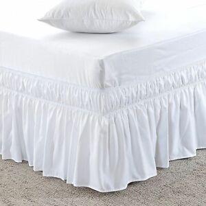 *White - Wrap Around Bed Skirt Three Side Elastic Ruffle 100% Cotton 1000 TC