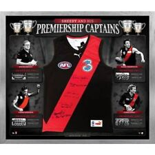 ESSENDON BOMBERS SHEEDY AND HIS PREMIERSHIP CAPTAINS SIGNED JERSEY FRAMED
