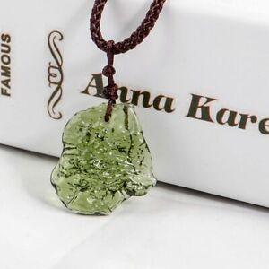 Natural Crystal Green Gem Moldavite Meteorite Glass Necklace Pendant Stone new
