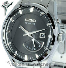 New Seiko Kinetic Bronce profundo Rostro Día Fecha Correa De Acero Inoxidable srn045p1