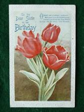 Birthday Wishes To Dear Sister Vintage Postcard