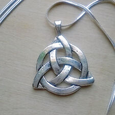 Large Triquetra Pendant on 30 in. Long Smooth Flat .925 Silver Herringbone Chain