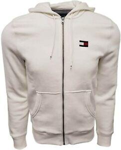 Tommy Hilfiger Mens 2 XL XXL Cream Full Zip Logo Hoodie Sweatshirt
