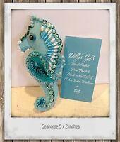 Seahorse Felt Ornament Hand Sewn Beaded Sequined Beach Decor Nautical theme