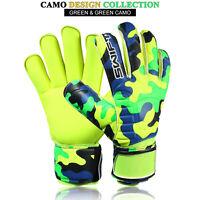 Men's Boys Pro Roll Flat Finger Saver Goalkeeper Goalie Gloves Size 5/6/7/8/9/10