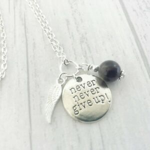 Strength Necklace Never Never Give Up Amethyst Gemstone Addiction Battle Fight