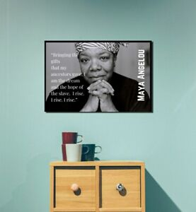 """Maya Angelou Famous """"I Rise"""" Quote Classroom Poster Motivational 