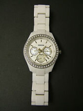 (W) FOSSIL WHITE RESIN CRYSTAL MULTI-FUNCTION WATCH ES1967 PRE-OWNED WORKING BAT