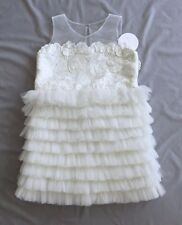 NWT MISCHKA AOKI GIRLS WHITE TULLE DRESS 10 11 12 yrs SZ 12 FLOWER GIRL WEDDING