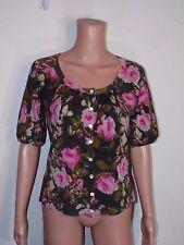 Ann Taylor LOFT 100% Wool short sleeve rose floral print sweater Cardigan Medium