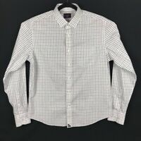 UNTUCKit Mens White Gray Plaid Wrinkle Free Long Sleeve Button Shirt Medium