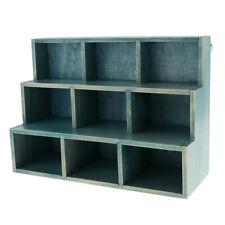 9 Cube Display Unit Wood Storage Shelf Desktop Sundries Organizer Rack Blue