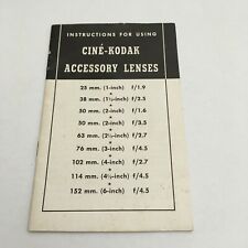 INSTRUCTIONS MANUAL FOR KODAK-CINE MOVIE CAMERAS,LENSES AND ASSECCORIES