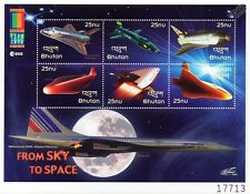 FROM SKY TO SPACE: Concorde Aircraft Spacecraft Shuttle Stamp Sheet/2000 Bhutan