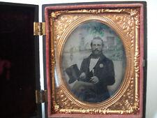 Antique Daguerrotype Ambrotype 1/6 Plate Gentleman, Boat, Political, Top Hat