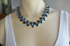G By Guess Blue Leaves Leaf Link Statement Choker Necklace NWT