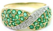 Natural Emerald & 22 Diamond 9ct 9K 375 Solid Gold Pave Ring  - 30 Day Refunds