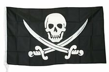 BANDIERA PIRATI CARAIBI BUCANIERI PIRATE FLAG TESCHIO SPADE INCROCIATE cm 90x150