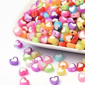 50 Acrylic Heart Beads Transparent Assorted Lot BULK Beads Wholesale 8mm