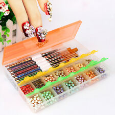HOT 15 Grids Nail Art Tips Rhinestone Pen Brush Empty Storage Container Box Case