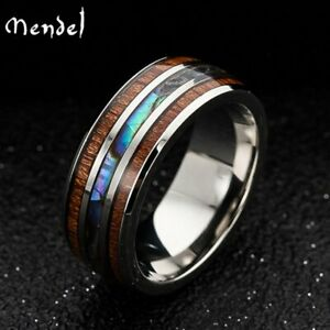 MENDEL Mens Tungsten Carbide Wooden Abalone Shell Seashell Band Ring Size 6 -13