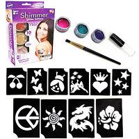 Body art temporary tattoos glitter powders stencils brush glue tool shimmer kit
