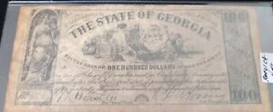 1864 Confederate Civil War Money THE STATE OF GEORGIA $100 Reproduction