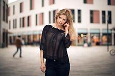 H & M, aufregende Nylon Tunika, sexy und elegant, Gr. 44, schwarz, Second Hand