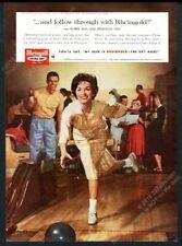 1959 Miss Rheingold Beer bowling alley photo vintage print ad