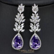 Pendientes Luxury DE CIRCONITA AAA CRISTALES STELLUX™ ORO BLANCO / Púrpura