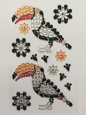 SELF ADHESIVE GEMS-ACRYLIC-BLACK FLOWER/BIRD/TOUCAN GEM STONES-CRAFT STICKERS