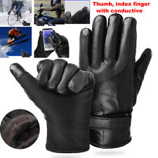 Leather Full Finger Mens Motorcycle Driving Winter Warm Touch Screen Gloves New