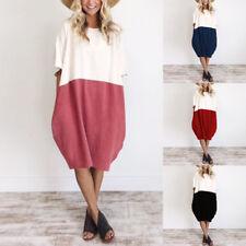 Plus Size Celmia Beach Dress Womens Short Sleeve Casual Vintage Party Midi Dress