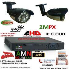 KIT VIDEOSORVEGLIANZA DVR 4 CANALI IBRIDO IPCLOUD+ 1 TELECAMERA 2MPX 6 ARRAY AHD