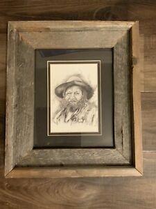 Pencil Drawing Hobo Man Jack Adkins. Barn Wood Frame