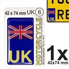 UK Union Jack NUMBER PLATE 3D GEL STICKER Motorcycles Resin Domed GB Side Badge