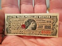 1898 Toledo, Peoria & Western Railroad $20 Bond Coupon in good Cancelled shape