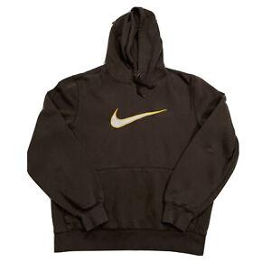 Vintage Nike BIG SWOOSH Grayish-Brown Hoodie Sweatshirt Men's Medium L/S